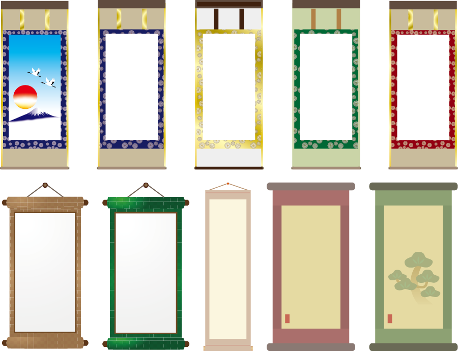 フリーイラスト 10種類の掛け軸のセット
