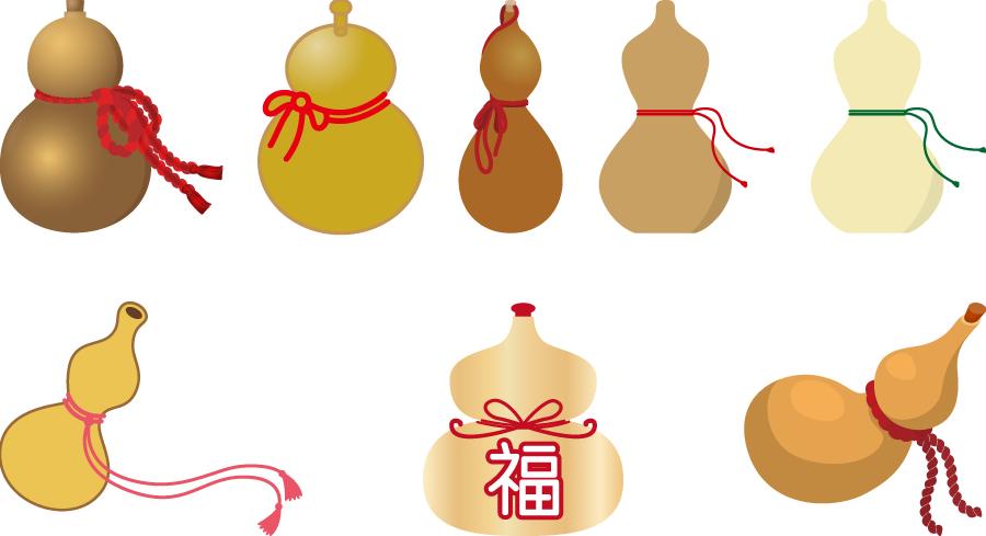 フリーイラスト 8種類のひょうたんのセット