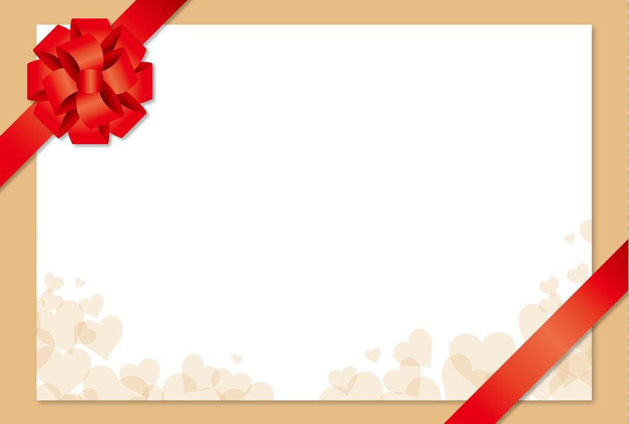 フリーイラスト 花リボンとハートのメッセージカード