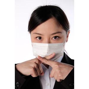 フリー写真, 人物, 女性, アジア人女性, 女性(00083), 日本人, ビジネス, 職業, ビジネスウーマン, OL(オフィスレディ), 衛生マスク, 病気, 風邪, インフルエンザ, 花粉症, バツ印, 禁止(ダメ)