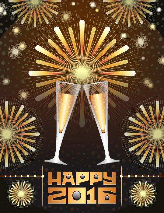フリーイラスト シャンパンと打ち上げ花火の新年(2016年)の背景