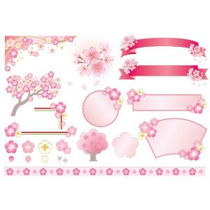 フリーイラスト, ベクター画像, AI, 花, 桜(サクラ), 帯リボン, バナー, 飾り罫線(ライン), 春, ピンク色の花