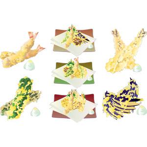 フリーイラスト, ベクター画像, AI, 食べ物(食料), 料理, 日本料理, 和食, 揚げ物, 魚介料理, 野菜料理, 天ぷら, 海老(エビ), 茄子(なすび)