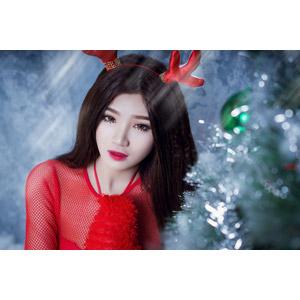 フリー写真, 人物, 女性, アジア人女性, ベトナム人, 女性(00124), トナカイの衣装, 年中行事, クリスマス, 12月, 冬