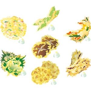 フリーイラスト, ベクター画像, AI, 食べ物(食料), 料理, 日本料理, 和食, 揚げ物, 野菜料理, 天ぷら, かき揚げ, 椎茸(シイタケ), 蓮根(レンコン), ししとう(シシトウガラシ), 大葉, 南瓜(カボチャ), さつまいも