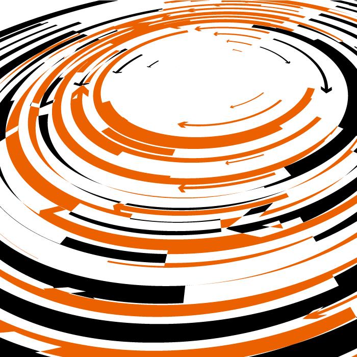フリーイラスト オレンジと黒の渦巻き状の背景
