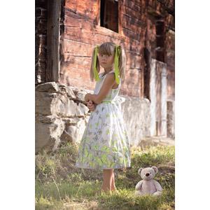 フリー写真, 人物, 子供, 女の子, 外国の女の子, 女の子(00236), ワンピース, ツインテール, ぬいぐるみ, テディベア