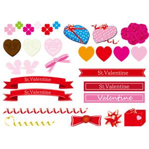 フリーイラスト, ベクター画像, AI, 年中行事, 2月, バレンタインデー, ハート, リボン, 帯リボン, 花リボン, 蝶リボン, プレゼント, チョコレート, 四つ葉のクローバー, 薔薇(バラ)