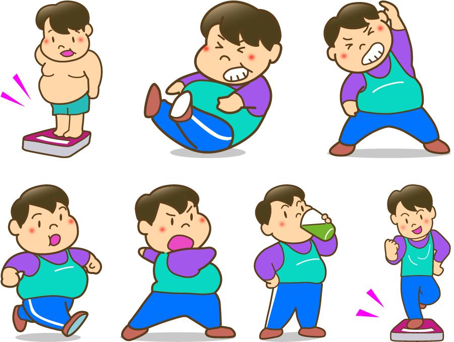 フリーイラスト 7種類のダイエットする男性のセット