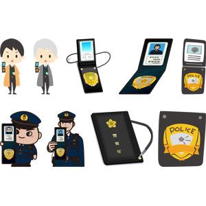 フリーイラスト, ベクター画像, AI, 警察手帳, 人物, 男性, シニア男性, 警察, 警察官(お巡りさん), 刑事(デカ)
