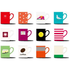 フリーイラスト, ベクター画像, AI, 食器, マグカップ