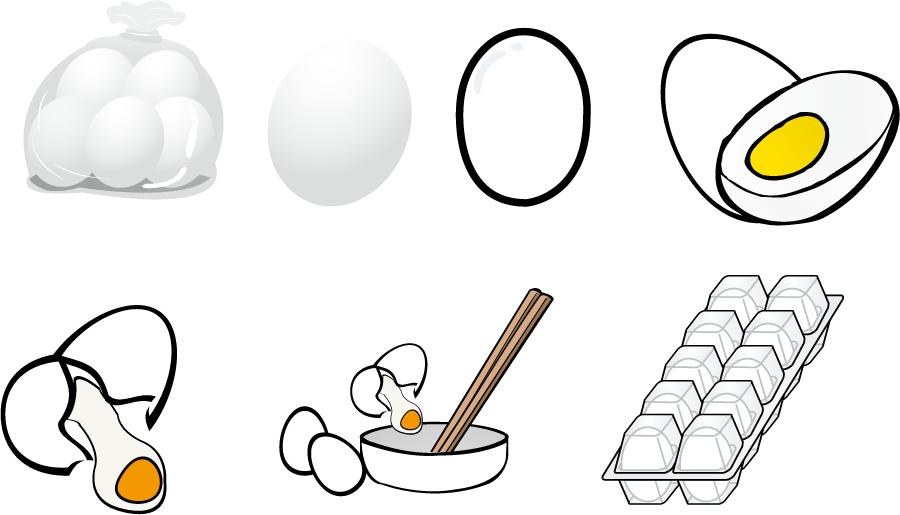 フリーイラスト 7種類の卵のセット