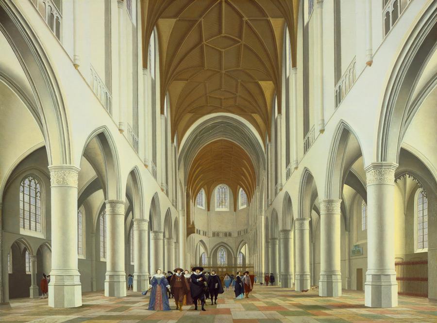 フリー絵画 ピーテル・ヤンス・サーンレダム作「ハーレムの聖バフォ教会の内部」