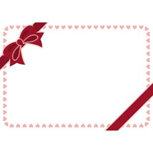 フリーイラスト, ベクター画像, AI, 背景, フレーム, 囲みフレーム, リボン, 蝶リボン, ハート, 年中行事, 2月, バレンタインデー