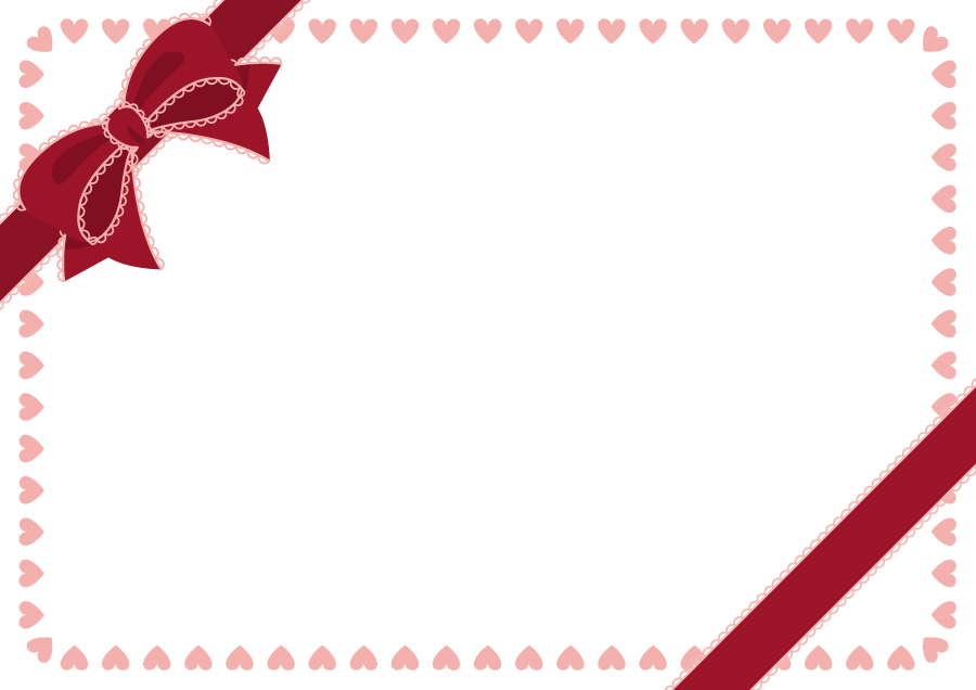 フリーイラスト 蝶リボンとハートのバレンタインデーの飾り枠