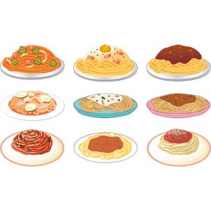 フリーイラスト, ベクター画像, AI, 食べ物(食料), 料理, 麺類, パスタ, スパゲッティ, カルボナーラ, ペペロンチーノ, ミートソース, ナポリタン