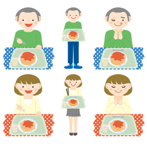フリーイラスト, ベクター画像, AI, 人物, 男性, 女性, 学生(生徒), 大学生, 食べる, 食べ物(食料), 料理, 麺類, パスタ, スパゲッティ, ミートソース, 学食, 食事, いただきます, 手を合わす