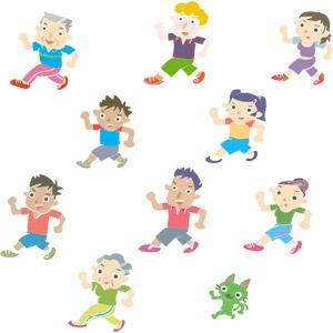 フリーイラスト, ベクター画像, EPS, 人物, 集団(グループ), 男性, 女性, 少女, 少年, 女の子, 男の子, 祖父(おじいさん), 祖母(おばあさん), 運動, フィジカルトレーニング, ウォーキング, 猫(ネコ)