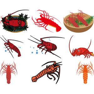 フリーイラスト, ベクター画像, AI, 動物, 甲殻類, 海老(エビ), 伊勢海老(イセエビ), ロブスター, 食べ物(食料), 魚介料理