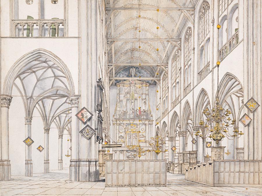 フリー絵画 ピーテル・ヤンス・サーンレダム作「アルクマールの聖ローレンス教会の内部」