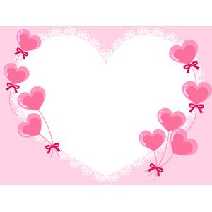フリーイラスト, ベクター画像, AI, 背景, フレーム, ハートフレーム, ハート, 風船, レース編み, ピンク色