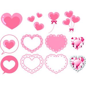フリーイラスト, ベクター画像, AI, ハート, 風船, 吹き出し, 宝石, レース編み, ピンク色, 愛(ラブ), 2月, バレンタインデー
