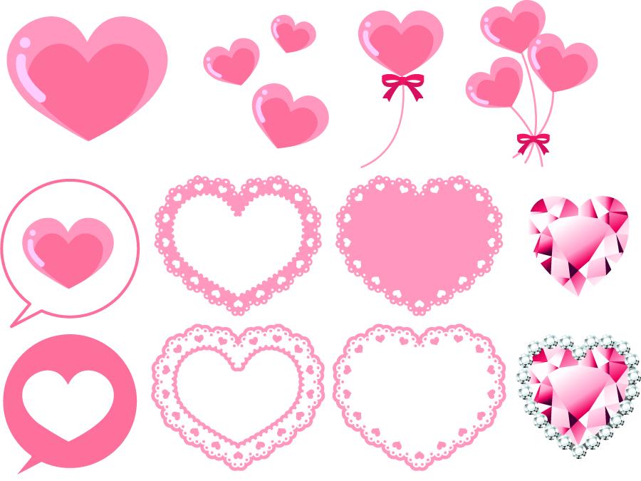 フリーイラスト 12種類のピンク色のハートのセット