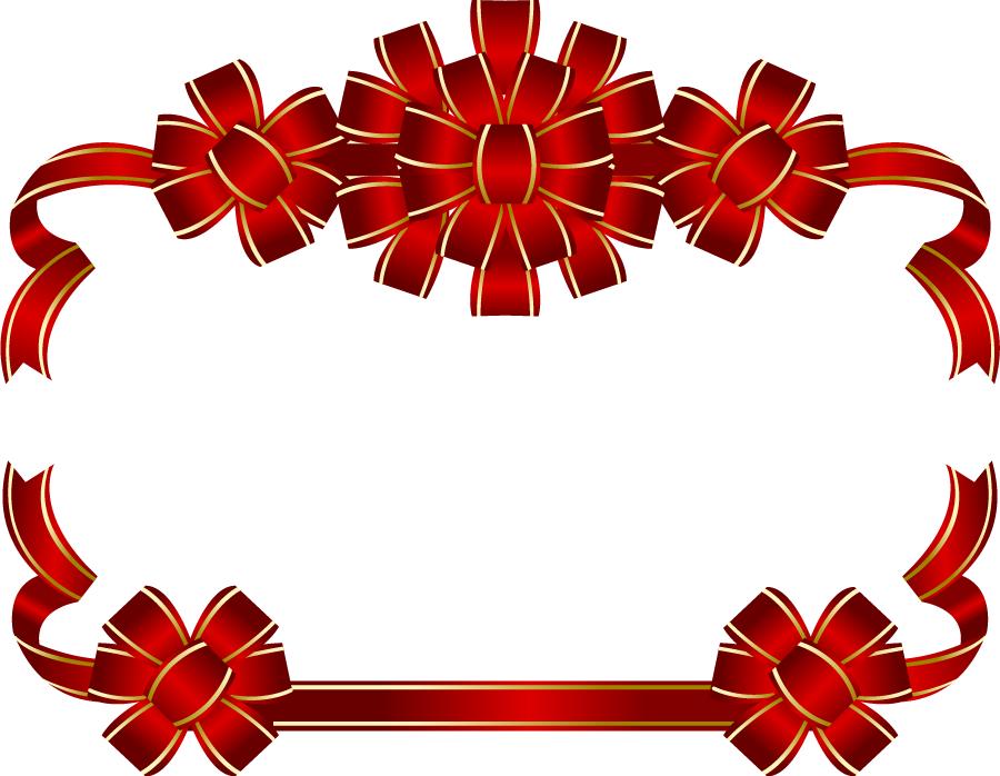 フリーイラスト 赤色の花リボンのフレーム