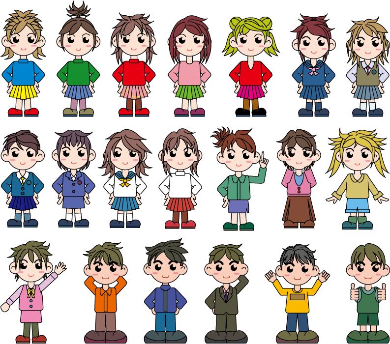 フリーイラスト 20人の少年と少女のセット
