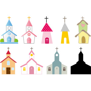 フリーイラスト, ベクター画像, AI, 建造物, 建築物, 教会(聖堂), 十字架
