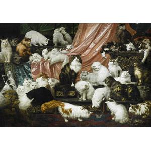 フリー絵画, カール・ケーラー, 動物画, 哺乳類, 猫(ネコ), 群れ