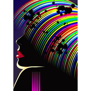 フリーイラスト, ベクター画像, AI, 人物, 女性, カラフル, 飛沫(しぶき), 髪の毛, 横顔