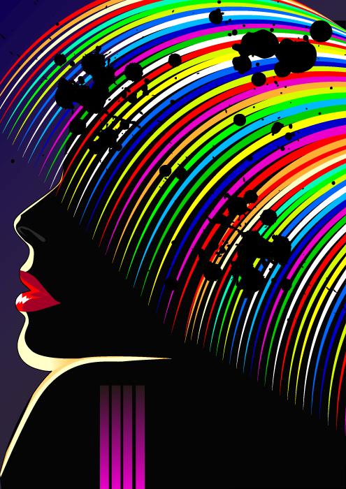 フリーイラスト カラフルな髪の毛の女性
