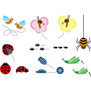フリーイラスト, ベクター画像, EPS, 動物, 昆虫, 蝶(チョウ), 蜂(ハチ), 蟻(アリ), 蜘蛛(クモ), てんとう虫(テントウムシ), バッタ, ダンゴムシ