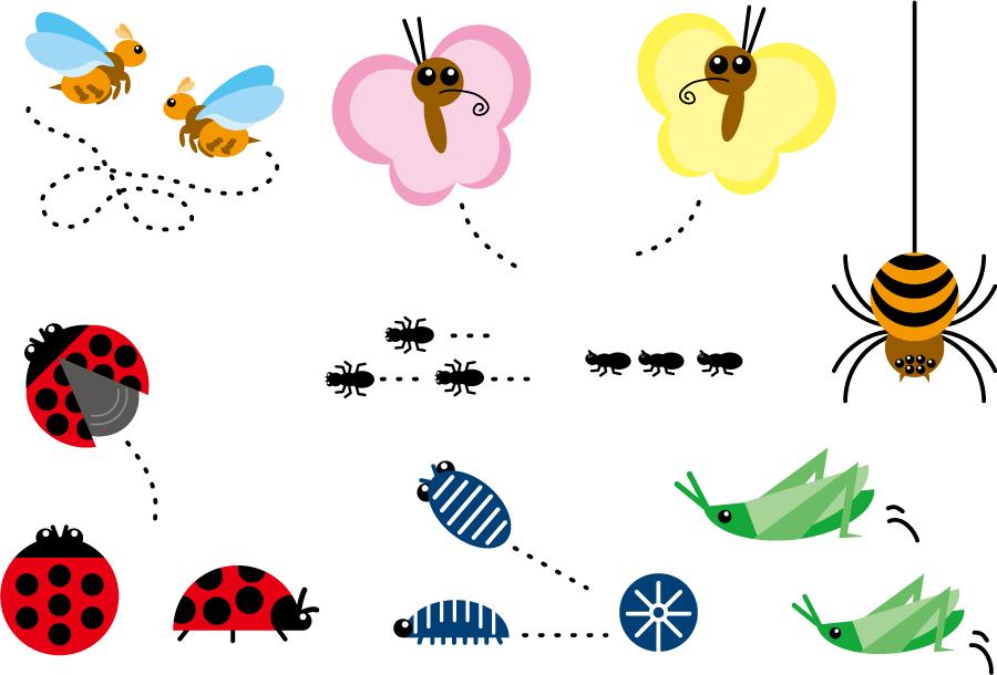 フリーイラスト バッタ、ダンゴムシ、テントウムシなどの7種類の虫のセット