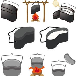 フリーイラスト, ベクター画像, AI, 飯盒, 飯盒炊爨(飯盒炊飯), 調理器具, キャンプ, アウトドア, キャンプ用品, 御飯(ご飯), 焚き火