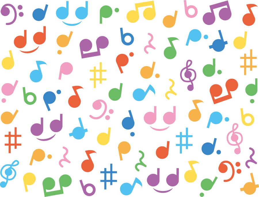 フリーイラスト かわいい音符の背景