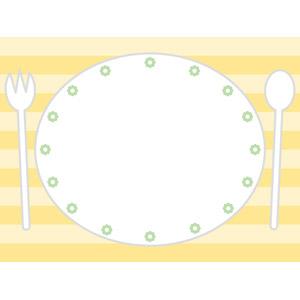フリーイラスト, ベクター画像, EPS, 背景, 食器, お皿, スプーン, フォーク, 縞模様(ストライプ), ランチョンマット