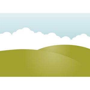 フリーイラスト, ベクター画像, AI, 風景, 自然, 丘, 雲