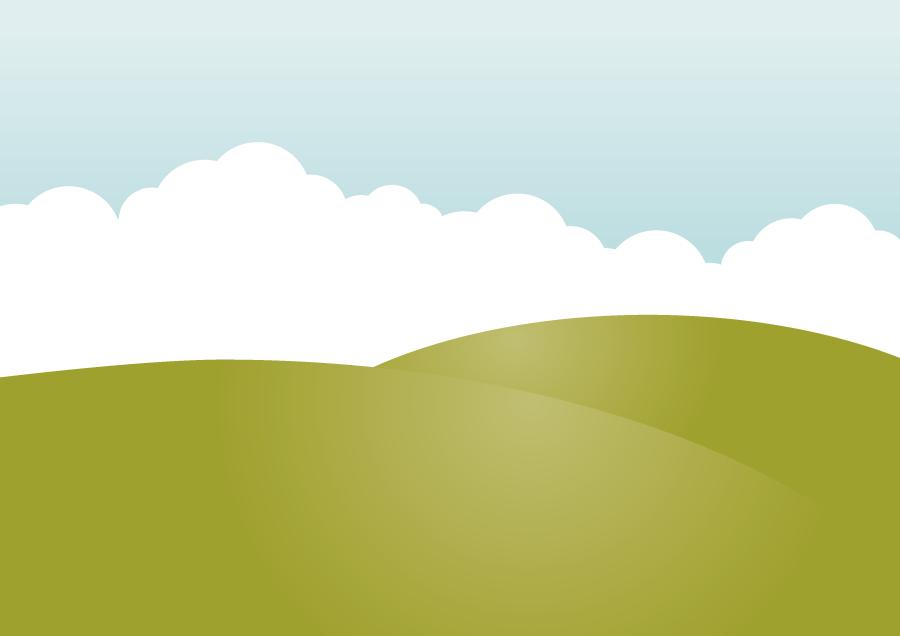 フリーイラスト 丘と雲の自然風景