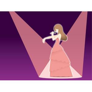 フリーイラスト, ベクター画像, EPS, 人物, 女性, ドレス, マイク, 歌う, 音楽, ライブ(コンサート), 歌手, 職業, 仕事, 横顔, スポットライト