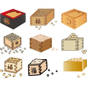 フリーイラスト, ベクター画像, AI, 年中行事, 節分, 2月, 豆(マメ), 福豆(炒り大豆), 升