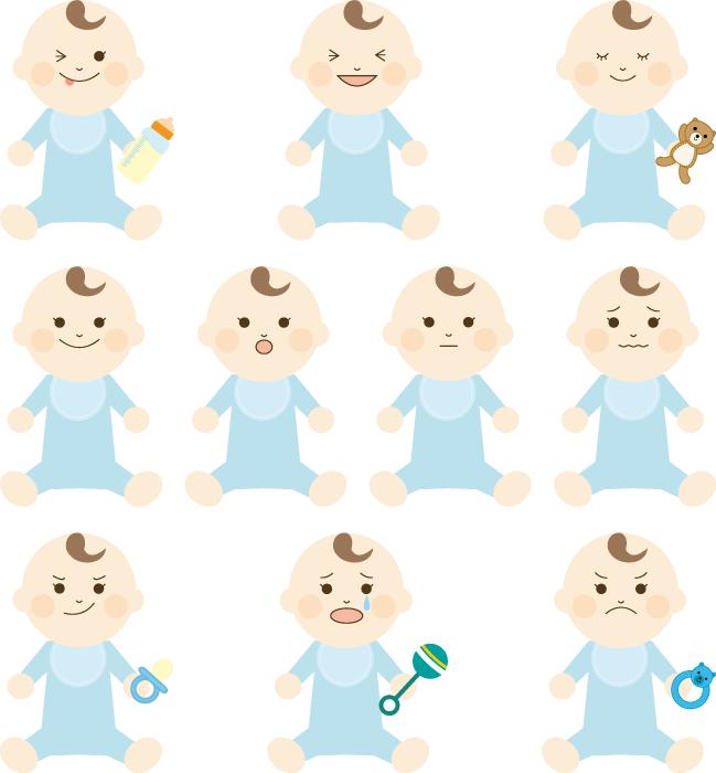 フリーイラスト 10種類の赤ちゃんのセット
