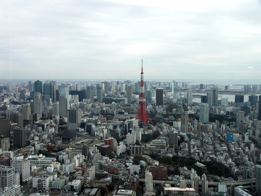 フリー写真 東京タワーと東京都の街並み