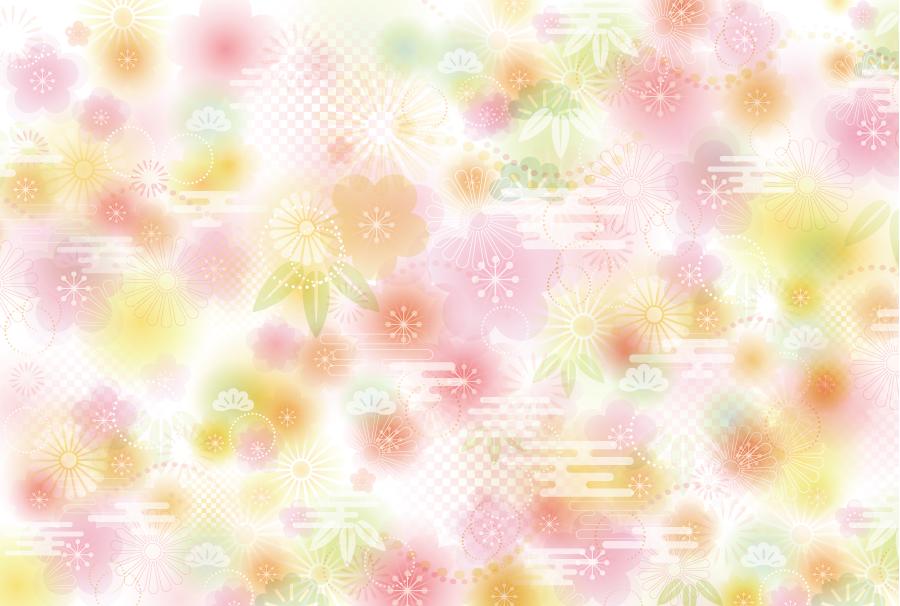 フリーイラスト 松竹梅や菊の和風背景