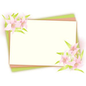 フリーイラスト, ベクター画像, AI, 背景, フレーム, 囲みフレーム, メッセージカード, 植物, 花, 百合(ユリ)