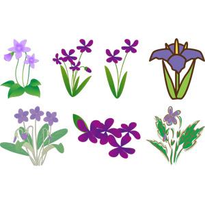 フリーイラスト, ベクター画像, AI, 植物, 花, スミレ, 紫色の花