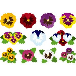 フリーイラスト, ベクター画像, AI, 植物, 花, パンジー