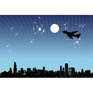 フリーイラスト, ベクター画像, EPS, 風景, 高層ビル, 都市, 街並み(町並み), 夜, 夜空, 星(スター), 満月, 乗り物, 航空機, 飛行機, 旅客機