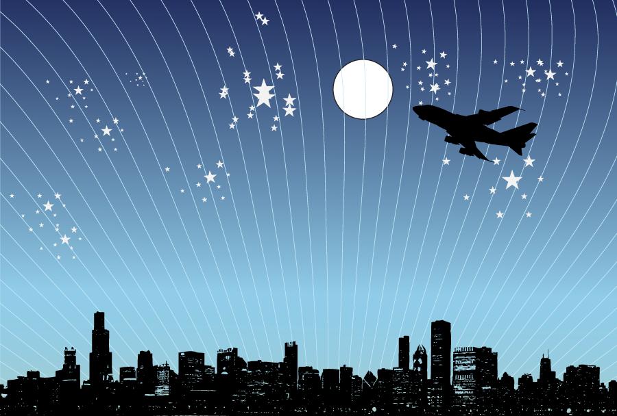 フリーイラスト 夜の街の上空を飛ぶ旅客機